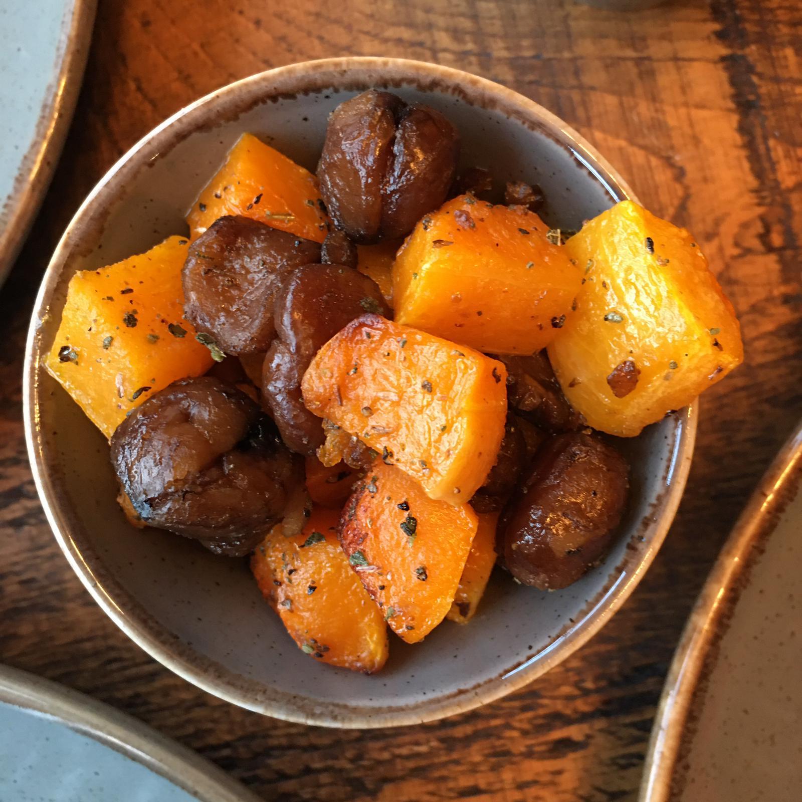 Roast Squash Sage and Chestnuts Side Dish Coach House Inn Winterbourne Abbas Dorset Pub