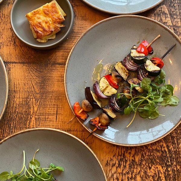 Vegan Vegetable Skewers Tuna Steak From The Grill Coach House Inn Winterbourne Abbas Dorset