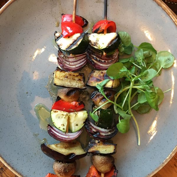Vegetable Skewers Red Onion Mushrooms Peppers Courgette Aubergine From The Grill Coach House Inn